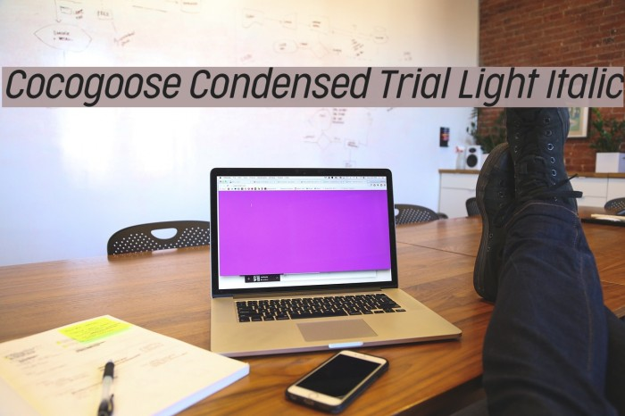 Cocogoose Condensed Trial Light Italic Schriftart examples