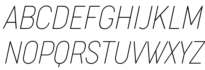 Cocogoose Condensed Trial Thin Italic Schriftart Groß