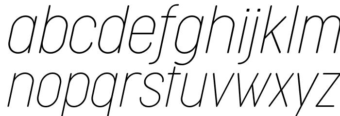 Cocogoose Condensed Trial Thin Italic Schriftart Kleinbuchstaben