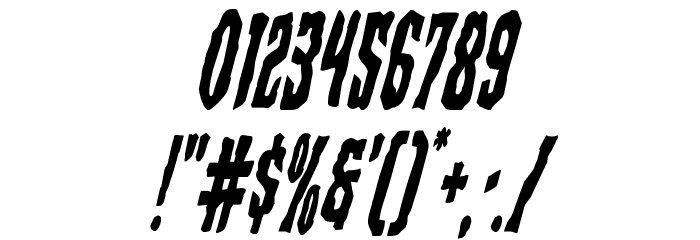 Creepy Crawlers Condensed Italic Font OTHER CHARS