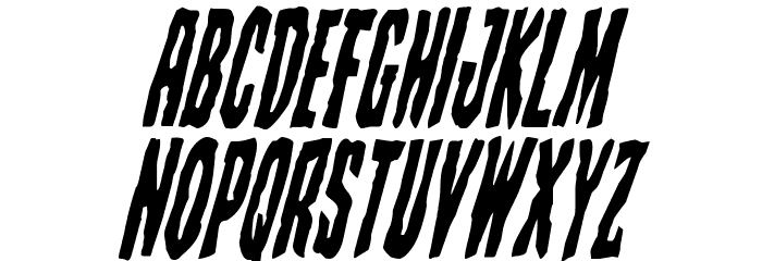 Creepy Crawlers Condensed Italic Шрифта ВЕРХНИЙ