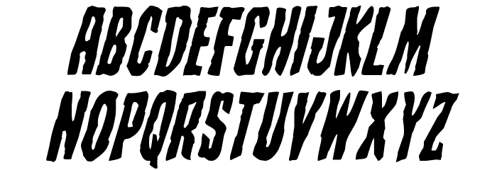 Creepy Crawlers Staggered Italic Font UPPERCASE