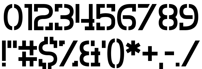 Crevice Stencil Font OTHER CHARS