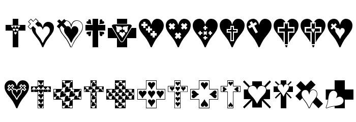 Crosses n Hearts Font UPPERCASE