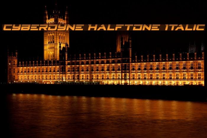 Cyberdyne Halftone Italic Fonte examples
