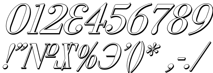 Cyberia Shadow Italic Font OTHER CHARS