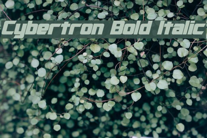 Cybertron Bold Italic Шрифта examples
