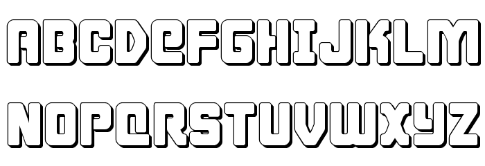 Cyborg Rooster 3D Font UPPERCASE