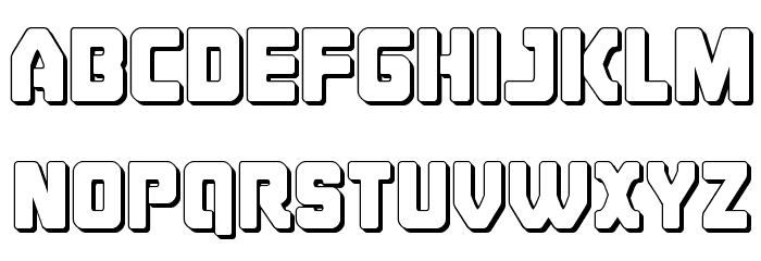 Cyborg Rooster 3D Font LOWERCASE