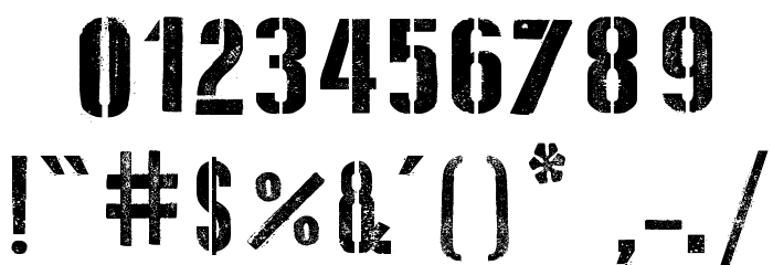 D Day Stencil Font Alte caractere