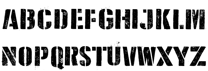 D Day Stencil Font Litere mici