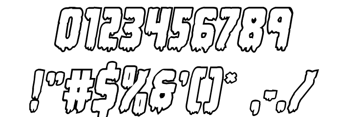 Deathblood Bold Outline Italic Font OTHER CHARS