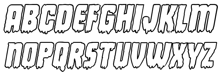 Deathblood Bold Outline Italic Font UPPERCASE