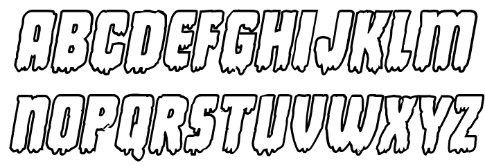 Deathblood Bold Outline Italic Font LOWERCASE