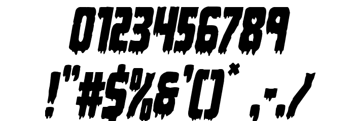 Deathblood Condensed Italic Font OTHER CHARS