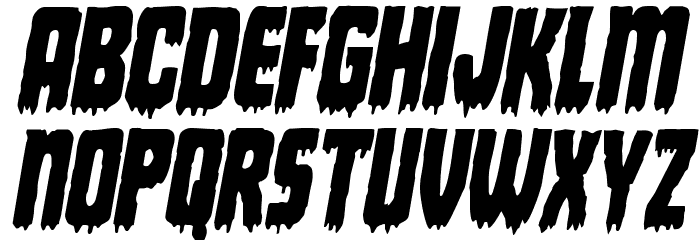 Deathblood Condensed Italic Font UPPERCASE