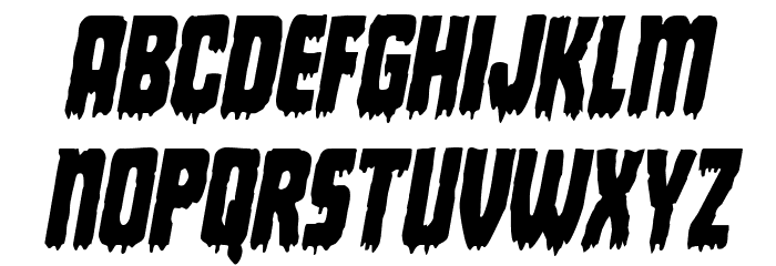 Deathblood Condensed Italic Font LOWERCASE