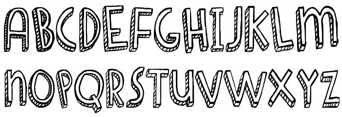 Denne Shuffle Euro Hollow Font UPPERCASE