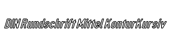 DIN Rundschrift Mittel KonturKursiv  Скачать бесплатные шрифты