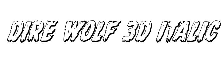 Dire Wolf 3D Italic Font