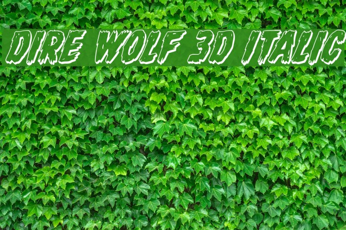 Dire Wolf 3D Italic Font examples