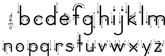 DmoZBPrintArrow Font LOWERCASE