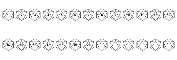 DPoly Twenty-Sider Font LOWERCASE