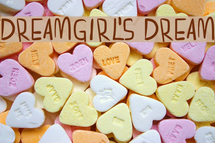 dreamgirl's dream Font examples