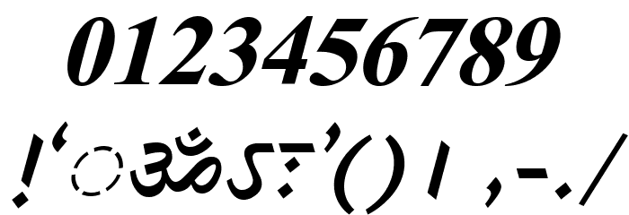DV-TTSurekhEN-BoldItalic Font OTHER CHARS