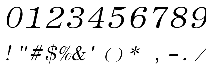 Elite Italic Font OTHER CHARS