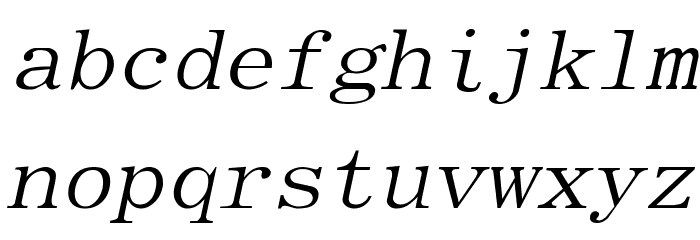 Elite Italic Font LOWERCASE