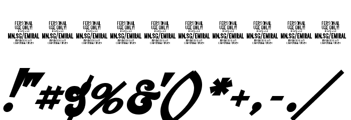 Emiral Script Bold PERSONAL USE Font OTHER CHARS
