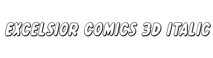 Excelsior Comics 3D Italic  Free Fonts Download