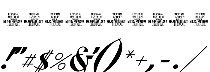 Fabulous PERSONAL USE Font OTHER CHARS