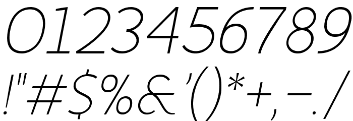 Fineness Pro ExtraLight Italic フォント その他の文字