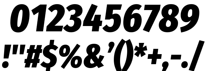 Fira Sans Condensed Heavy Italic Polices AUTRES CHARS