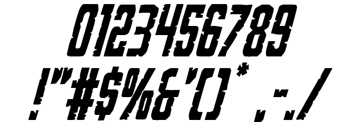 G.I. Incognito Condensed Italic フォント その他の文字