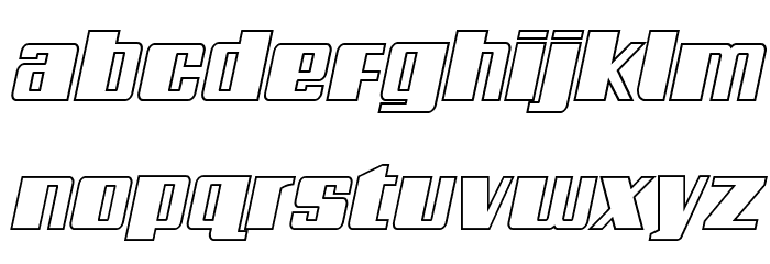 Galactic Storm Outline Italic Font LOWERCASE