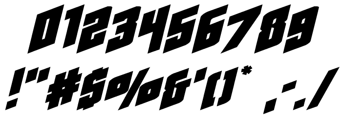 Galaxy Force Extra-Expanded Italic Font OTHER CHARS