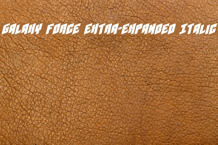 Galaxy Force Extra-Expanded Italic Font examples