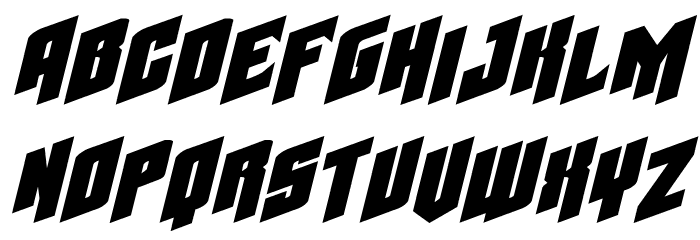 Galaxy Force Extra-Expanded Italic Font LOWERCASE