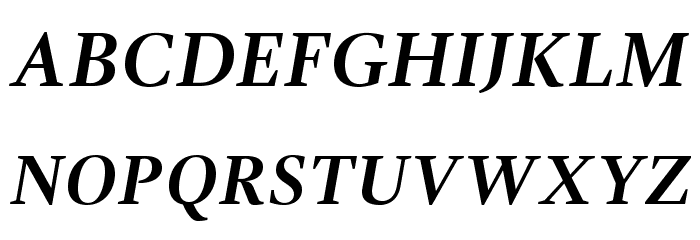 GandhiSerif-BoldItalic Caratteri MAIUSCOLE