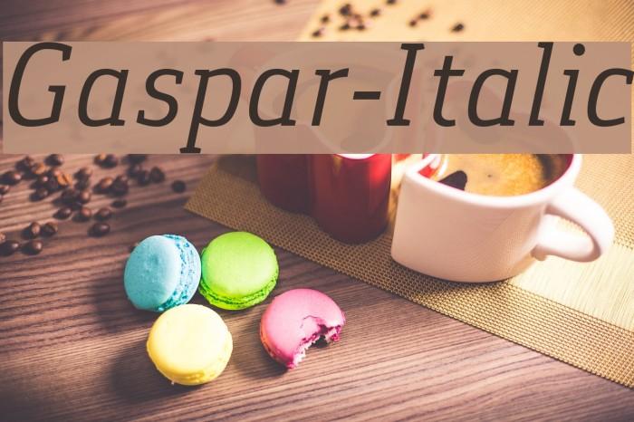 Gaspar-Italic Schriftart examples