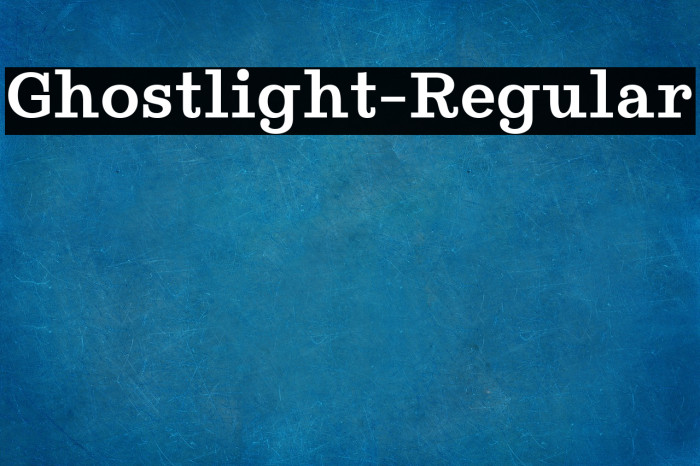 Ghostlight-Regular Fonte examples