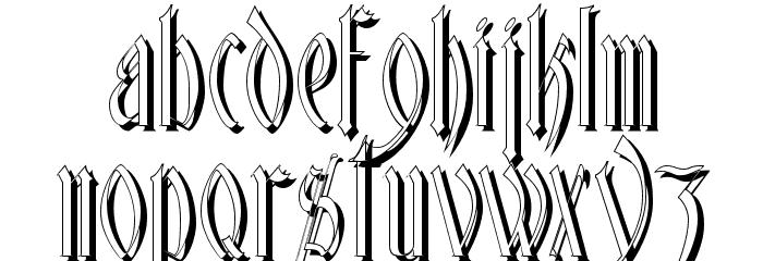 Glastonbury Shadow Font LOWERCASE