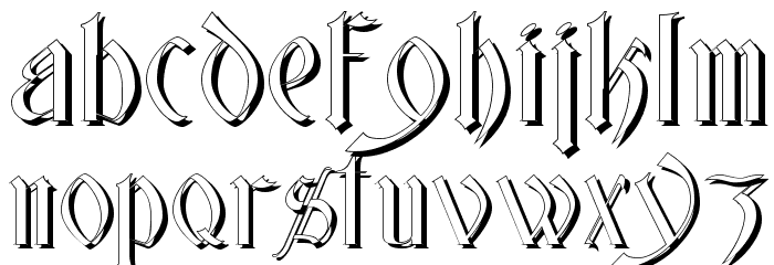 Glastonbury Wide Shadow Font LOWERCASE