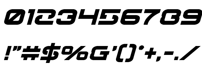 Gunrunner Bold Italic Font OTHER CHARS