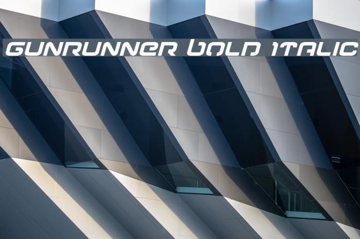 Gunrunner Bold Italic Font examples