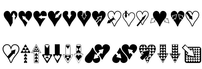Hearts n Arrows Font UPPERCASE