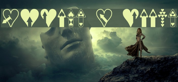 Hearts n Arrows Font examples
